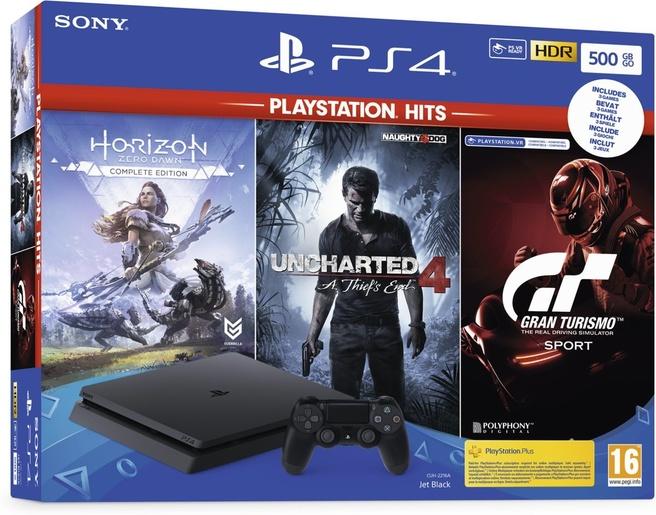 Sony PlayStation 500GB + Horizon: Zero Dawn + Uncharted 4 + Gran Turismo Sport Zwart