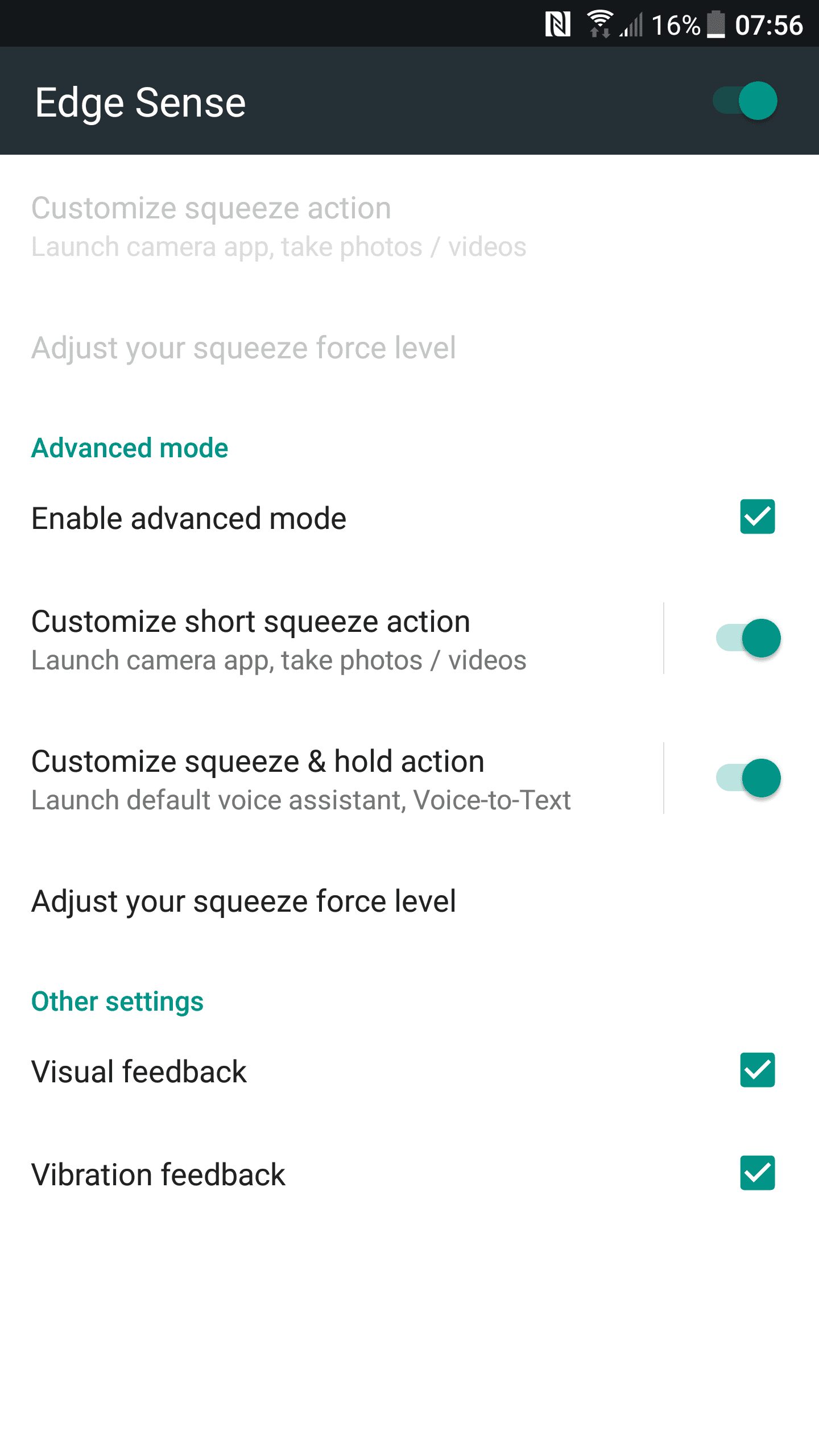 HTC U11 Edge Sense settings 02, advanced mode enabled