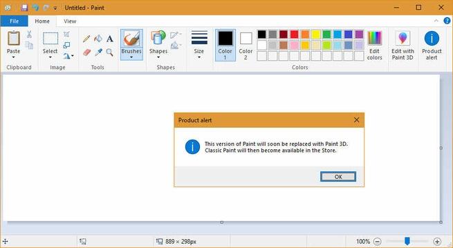 Microsoft Paint waarschuwing