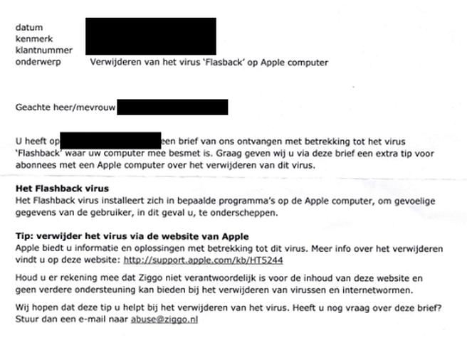 Ziggo-waarschuwingsbrief Flashback (via Security.nl)
