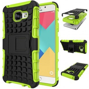 qMust Samsung Galaxy A3 (2016) Rugged Hybrid Case - Dual Protection - Green
