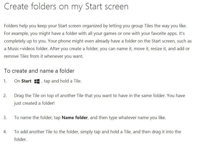 Mappen in Windows Phone 8.1 Update
