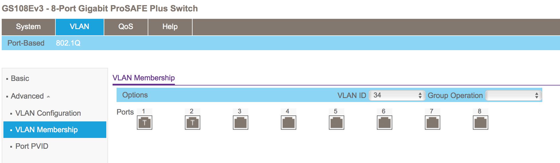 Netgear GS108E v3 VLAN 34 membership