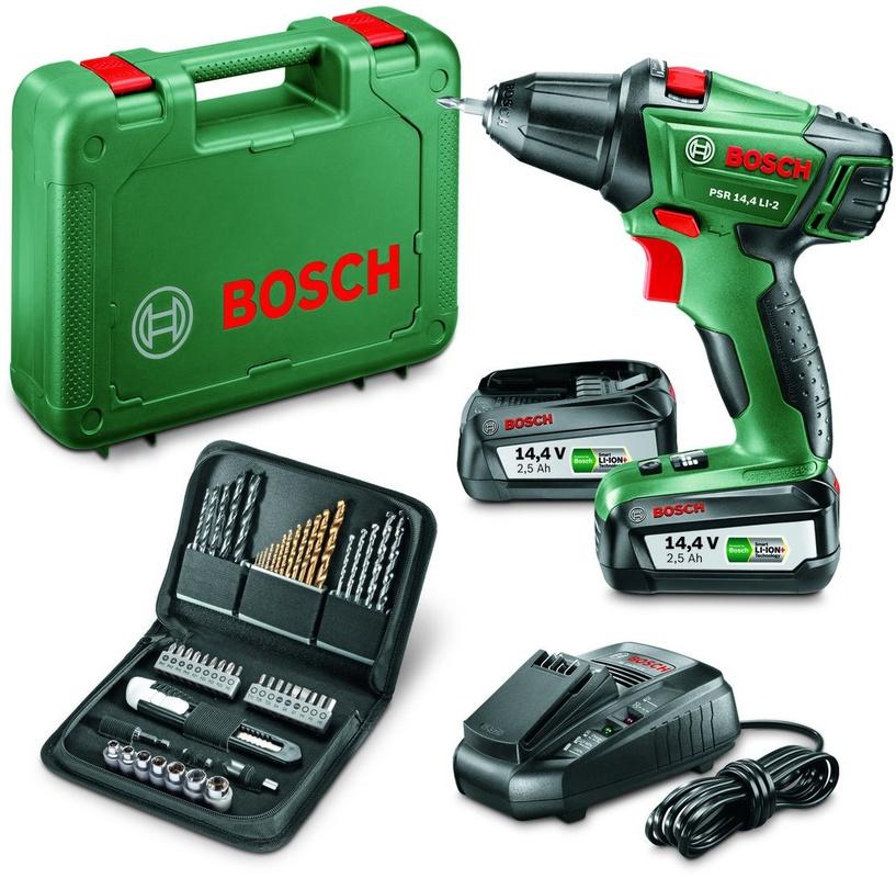 Super Bosch PSR 14,4 LI-2 + extra accu + accessoires set - Kenmerken MN87