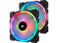 Goedkoopste Corsair LL140 RGB 140mm Dual Light Loop RGB LED PWM Fan - Twin pack + Lighting Node PRO, 140mm