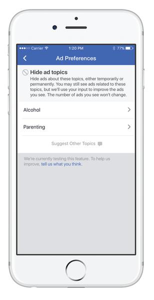 facebook ads verbergen