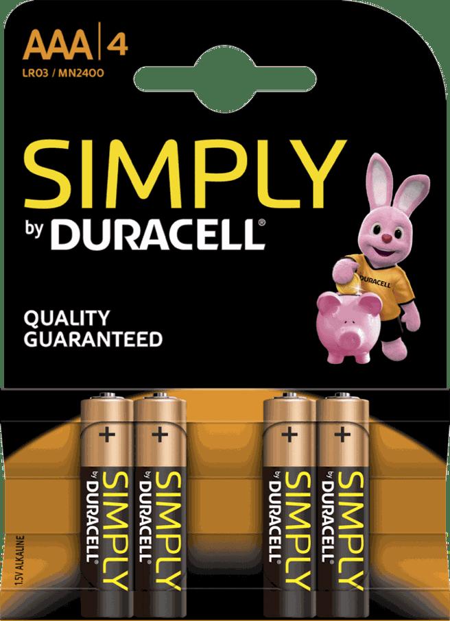 Duracell Simply Alkaline AAA (4 stuks)