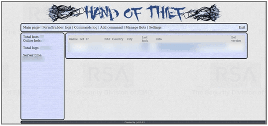 Adminpanel van Hand of Thief