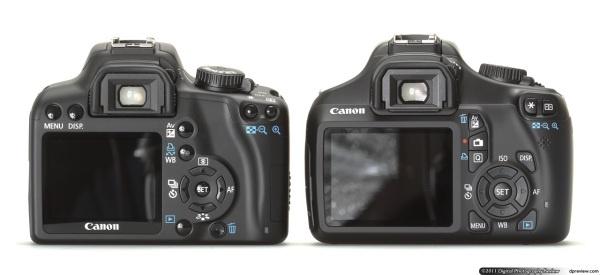 Canon EOS 1100D en 1000D side-by-side back