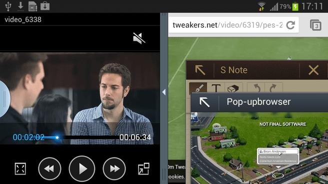 Note II; vier apps tegelijk op het scherm