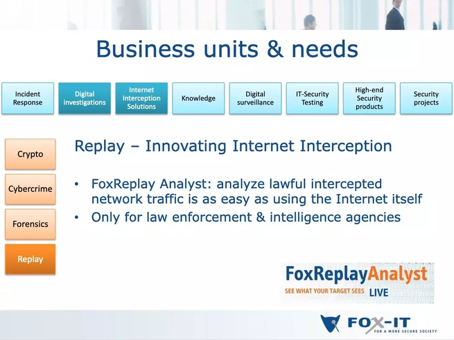Slide uit een presentatie van Fox-IT uit juni 2011. Bron: website Res Publica.