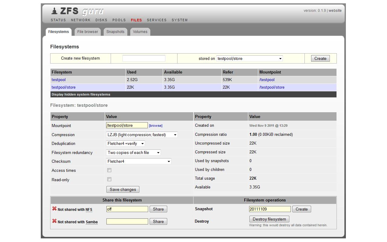 ZFSguru screenshot