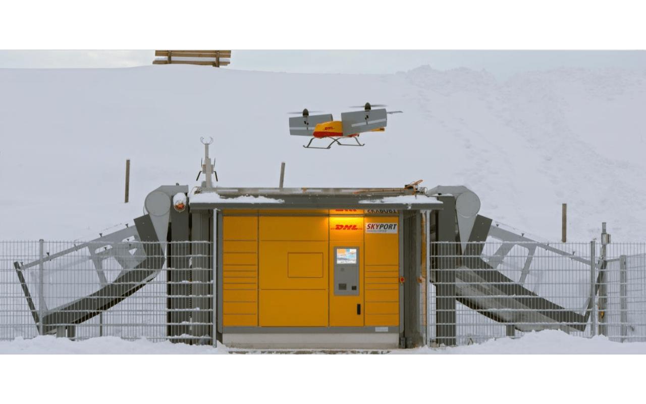 DHL Parcelcopter stijgen/dalen