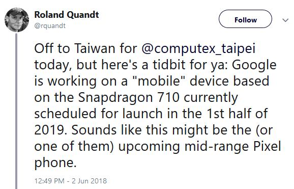 Google Pixel Snapdragon 710 Twitter