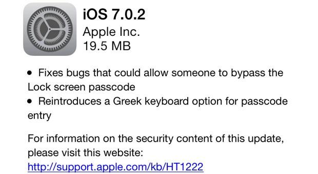 Apple iOS 7.0.2 changelog