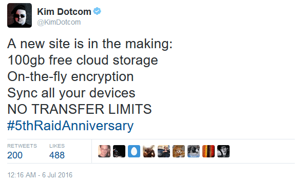 Kim Dotcom Tweet