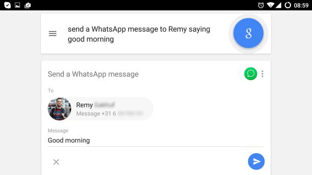 Demo van Android voice command icm Whatsapp (landschap)