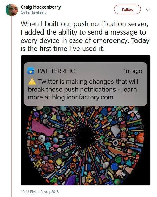 Twitterific api-veranderingen tweet