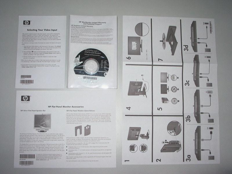 Handleidingen meegeleverd met de HP 2475w