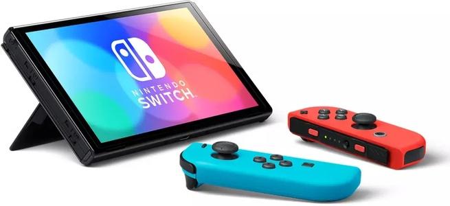 Nintendo Switch (OLED model) Blauw, Rood