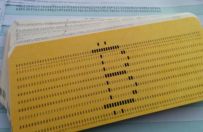 Ponskaart voor IBM Model 1401-mainframe