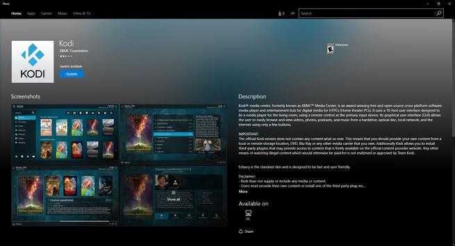 Kodi Windows Store pagina