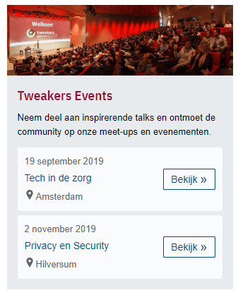 Meetups frontpage