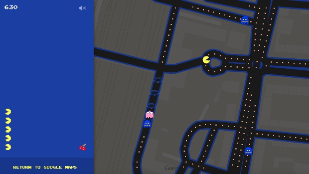 Pac-Man in Google Maps