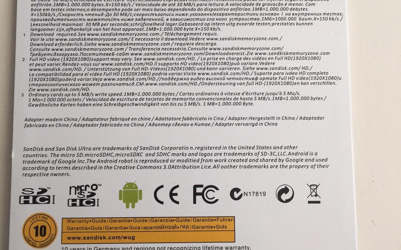 Verpakking nep-sd-kaartjes SanDisk via Groupon