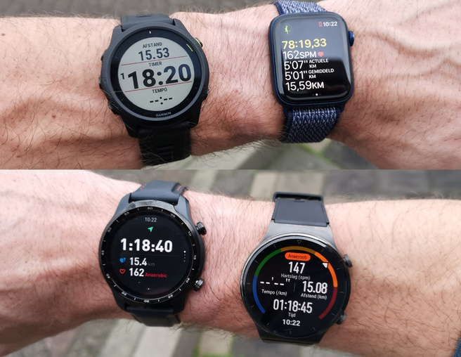 Vier horloges GPS test