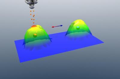 Scanning tunneling microscope applies electricity pulses to change magnetic state