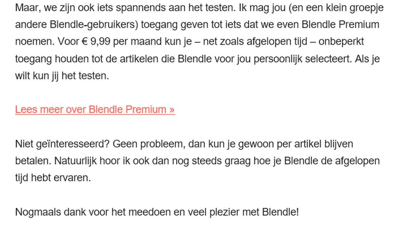 Blendle experimenteert met Premium-abonnement