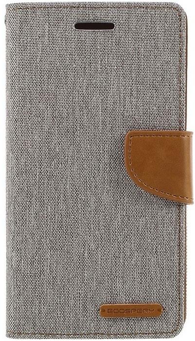 Mercury Canvas Diary Wallet Case voor Huawei P9 - Grijs/Bruin Grijs