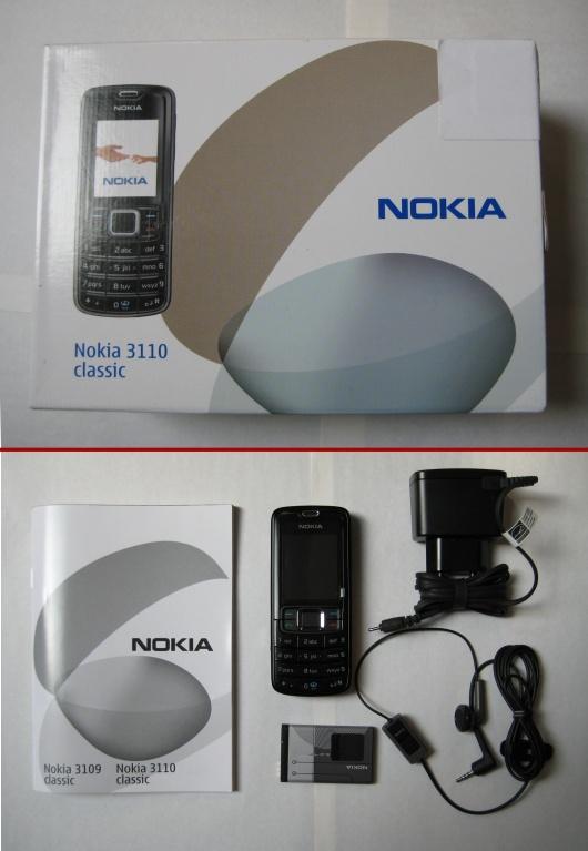 De verpakking met de inhoud van de Nokia 3110 Classic (zwart)