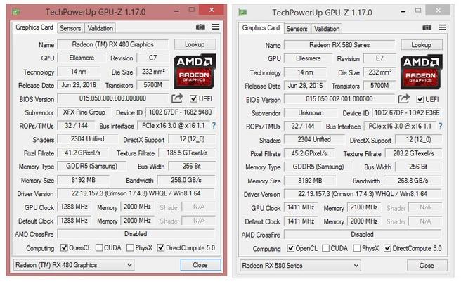 RX 480 flash - GPU-Z voor en Na
