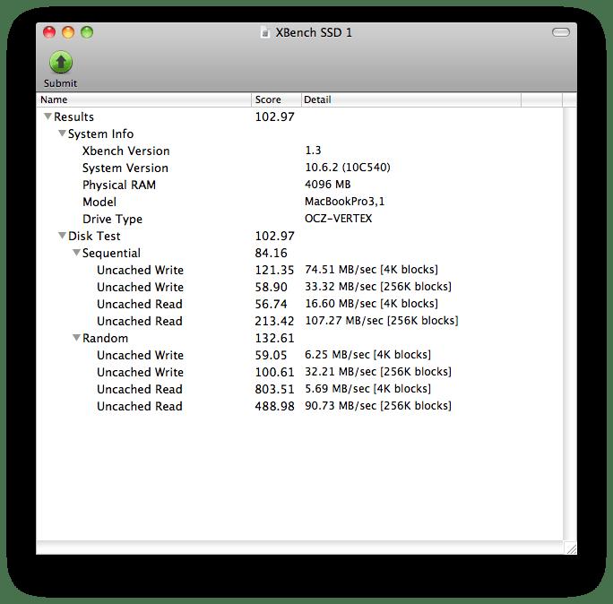 XBench SSD OCZ Vertex 60GB