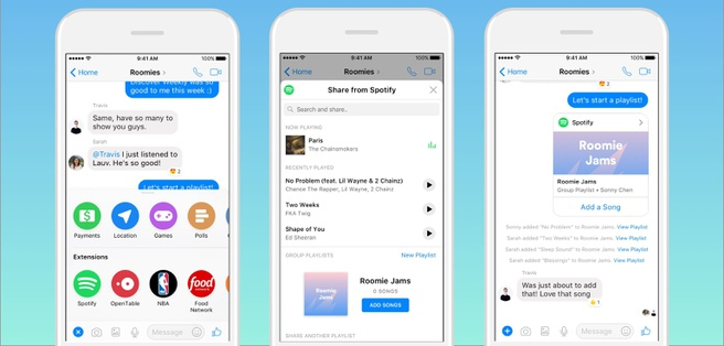 Group Playlist van Spotify in FB Messenger