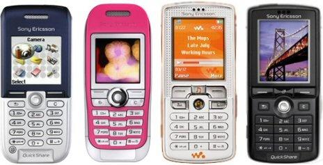 Vier Sony Ericsson-telefoons uit 2005