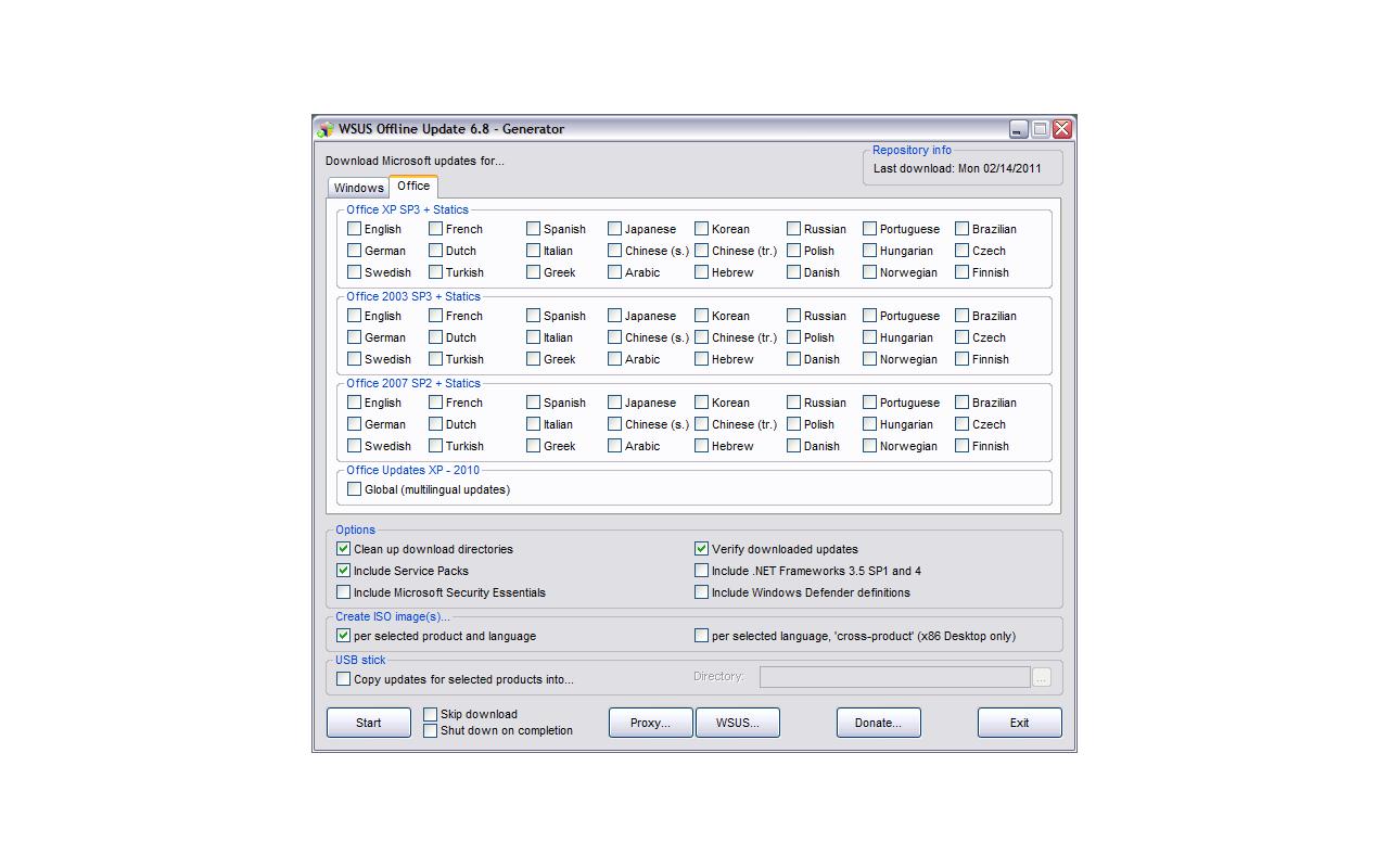 WSUS Offline Update 6.8 - Office screenshot