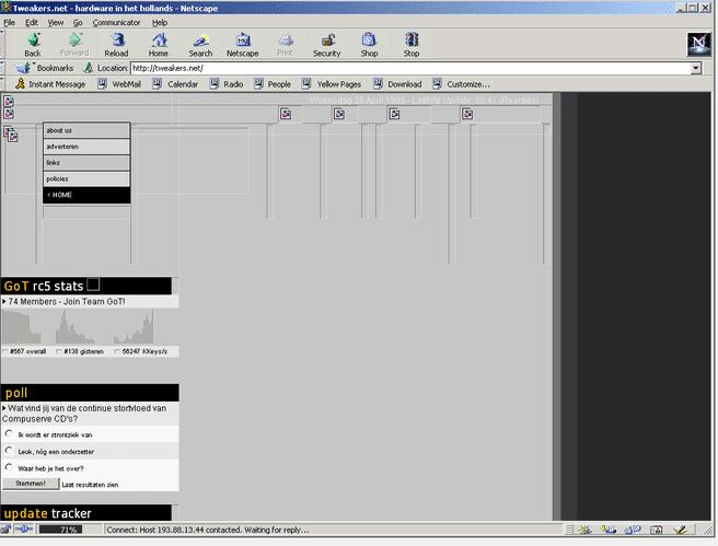 Tweakers uit 1998 met een Netscape Navigator-browser via Old Web Today