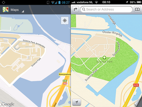 iOS 6 Maps versus Google Maps