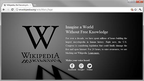 Wikipedia op zwart