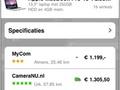 Screenshots Tweakers.net iPhone-applicatie