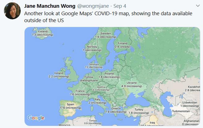 Jane Wong covid map Google