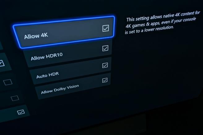 Xbox-instelling 'Allow 4K'
