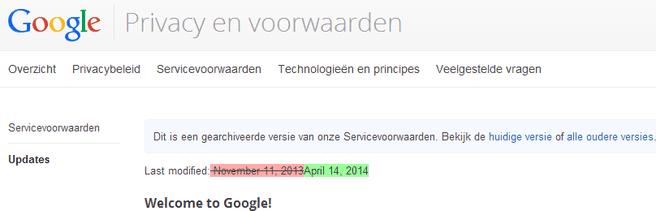 Google voorwaarden april 2014
