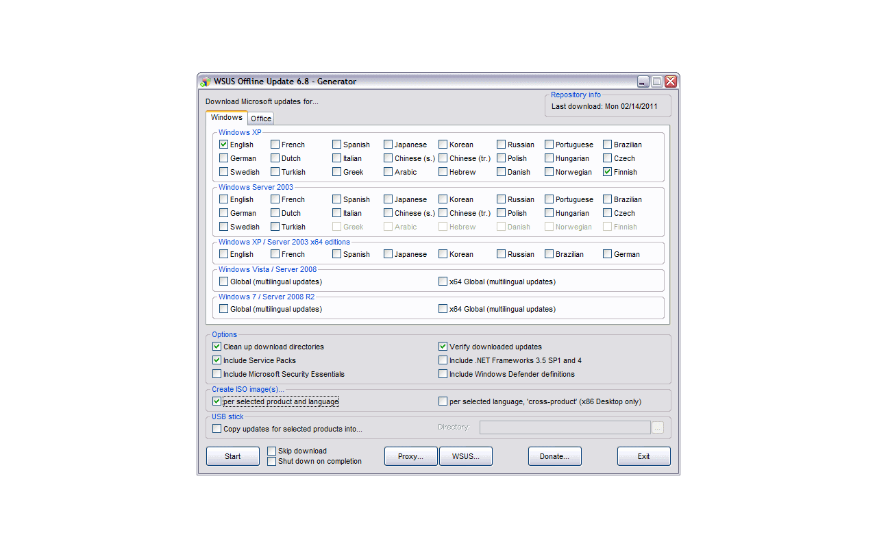 WSUS Offline Update 6.8 - Windows screenshot