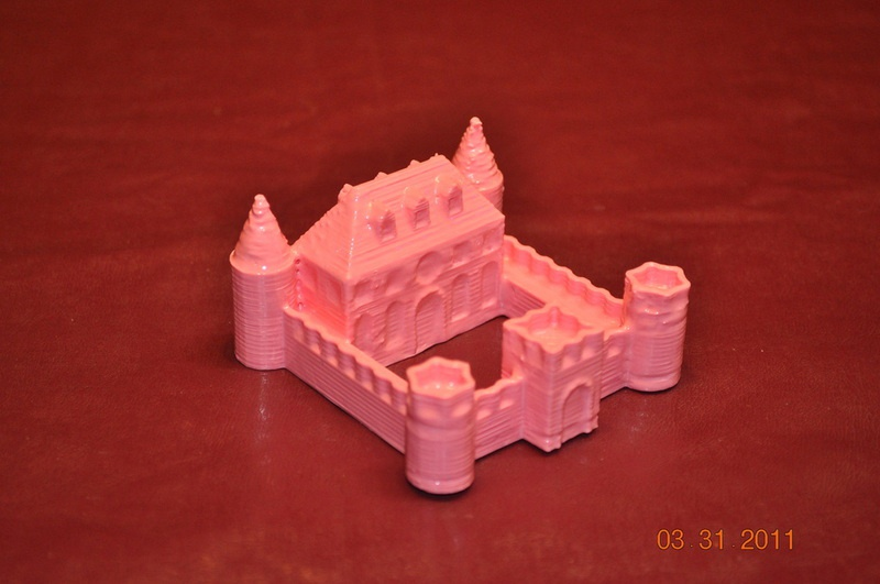 A miniature castle, printed out with a 3D printer
