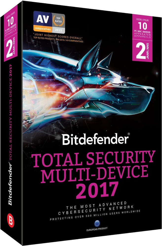 BitDefender Total Security Multi-Device 2017 (2 Jaar / 10 Users) Onbeperkte Apparaten (B-BBDTS-7E2P010)