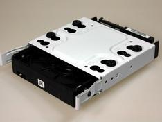 Onderzijde drive tray met hard disc